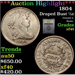 ***Auction Highlight*** 1804 Draped Bust Half Cent 1/2c Graded xf+ By USCG (fc)