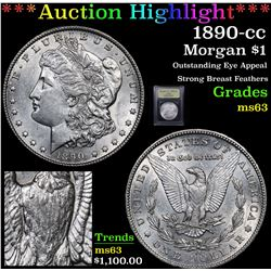 ***Auction Highlight*** 1890-cc Morgan Dollar $1 Graded Select Unc By USCG (fc)