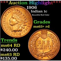 ***Auction Highlight*** 1906 Indian Cent 1c Graded Select+ Unc RD By USCG (fc)