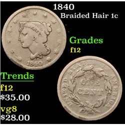 1840 Braided Hair Large Cent 1c Grades f, fine