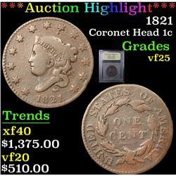 ***Auction Highlight*** 1821 Coronet Head Large Cent 1c Graded vf+ By USCG (fc)