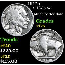 1917-s Buffalo Nickel 5c Grades vf+