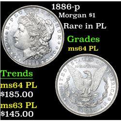 1886-p Morgan Dollar $1 Grades Choice Unc PL