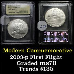 2003-p First Flight Modern Commem Dollar $1 Graded ms70, Perfection By USCG
