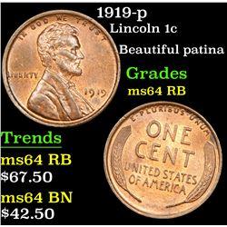 1919-p Lincoln Cent 1c Grades Choice Unc RB