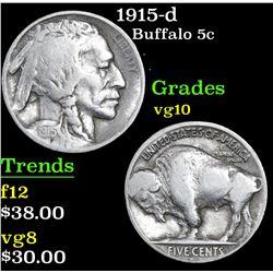 1915-d Buffalo Nickel 5c Grades vg+