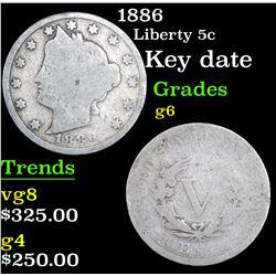 1886 Liberty Nickel 5c Grades g+