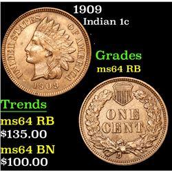 1909 Indian Cent 1c Grades Choice Unc RB
