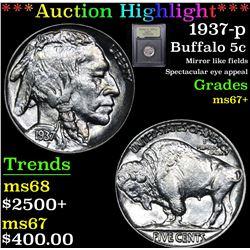 ***Auction Highlight*** 1937-p Buffalo Nickel 5c Graded Gem++ By USCG (fc)