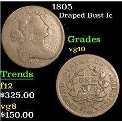 1805 Draped Bust Large Cent 1c Grades vg+