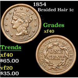 1854 Braided Hair Large Cent 1c Grades xf