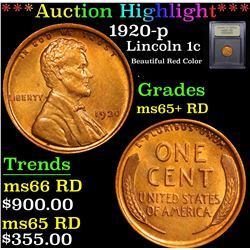 ***Auction Highlight*** 1920-p Lincoln Cent 1c Graded Gem+ Unc RD By USCG (fc)