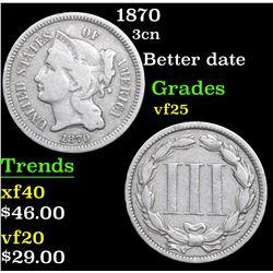 1870 Three Cent Copper Nickel 3cn Grades vf+