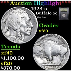 ***Auction Highlight*** 1924-s Buffalo Nickel 5c Graded vf++ By USCG (fc)