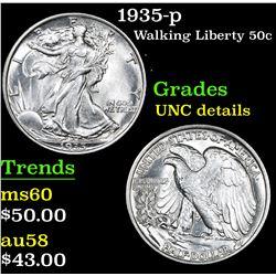 1935-p Walking Liberty Half Dollar 50c Grades Unc Details