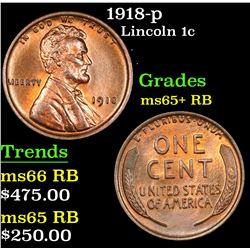 1918-p Lincoln Cent 1c Grades Gem+ Unc RB