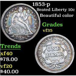1853-p Seated Liberty Dime 10c Grades vf++
