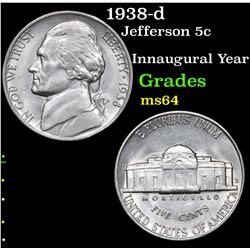 1938-d Jefferson Nickel 5c Grades Choice Unc