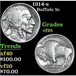 1914-s Buffalo Nickel 5c Grades vf+