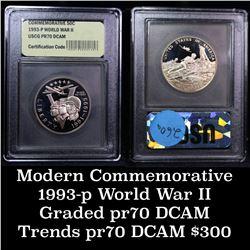 1991-1995-p WWII Modern Commem Half Dollar 50c Graded GEM++ Proof Deep Cameo By USCG