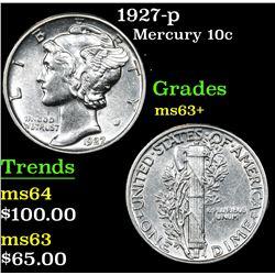 1927-p Mercury Dime 10c Grades Select+ Unc