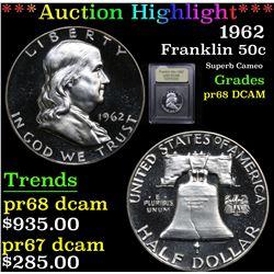 ***Auction Highlight*** 1962 Franklin Half Dollar 50c Graded GEM++ Proof Deep Cameo By USCG (fc)