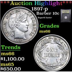 ***Auction Highlight*** 1897-p Barber Dime 10c Graded GEM+ Unc By USCG (fc)