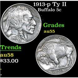 1913-p Ty II Buffalo Nickel 5c Grades Choice AU