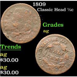 1809 Classic Head half cent 1/2c Grades ag