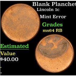 Blank Planchet Lincoln Cent 1c Grades Choice Unc RB