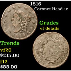 1816 Coronet Head Large Cent 1c Grades vf details