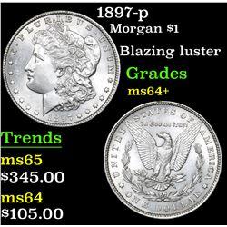 1897-p Morgan Dollar $1 Grades Choice+ Unc