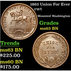1863 Union For Ever Civil War Token 1c Grades Select Unc BN