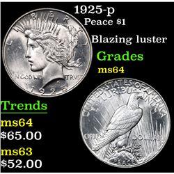 1925-p Peace Dollar $1 Grades Choice Unc