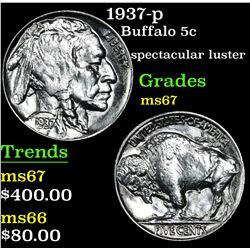 1937-p Buffalo Nickel 5c Grades GEM++ Unc