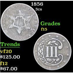1856 Three Cent Silver 3cs Grades f+