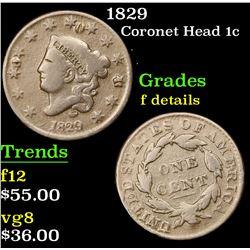 1829 Coronet Head Large Cent 1c Grades f details