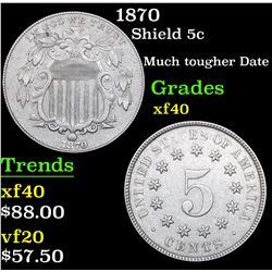 1870 Shield Nickel 5c Grades xf