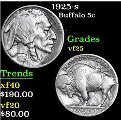 1925-s Buffalo Nickel 5c Grades vf+