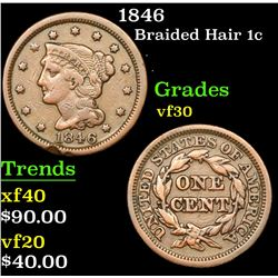 1846 Braided Hair Large Cent 1c Grades vf++