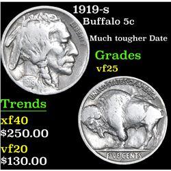 1919-s Buffalo Nickel 5c Grades vf+