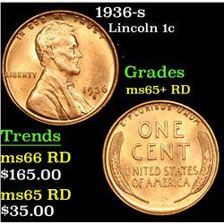 1936-s Lincoln Cent 1c Grades Gem+ Unc RD