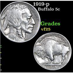 1919-p Buffalo Nickel 5c Grades vf+