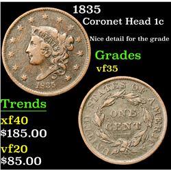 1835 Coronet Head Large Cent 1c Grades vf++