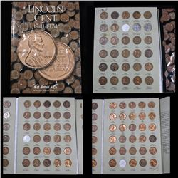 Partial Lincoln cent book 1937-1974, 87 coins . .