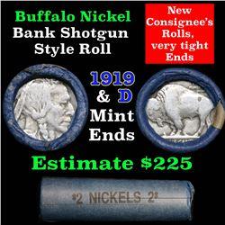 Buffalo Nickel Shotgun Roll in Old Bank Style Wrapper 1919 & d Mint Ends (fc)