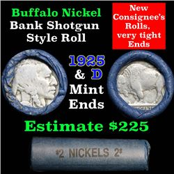 Buffalo Nickel Shotgun Roll in Old Bank Style Wrapper 1925 & d Mint Ends (fc)