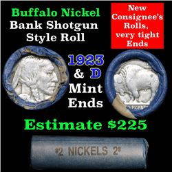 Buffalo Nickel Shotgun Roll in Old Bank Style Wrapper 1923 & d Mint Ends (fc)