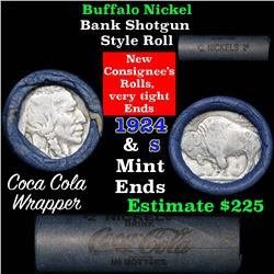 Buffalo Nickel Shotgun Roll in Old Bank Style Wrapper 1924 & s Mint Ends (fc)