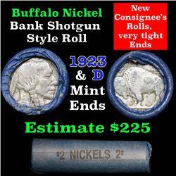 Buffalo Nickel Shotgun Roll in Old Bank Style Wrapper 1923 & d Mint Ends . .